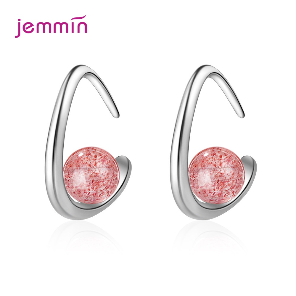 New Arrival Strawberry Crystals Moonlight Pink Zircon Earring 925 Sterling Silver Hook Ear Accessories For Female Jewelry Maker