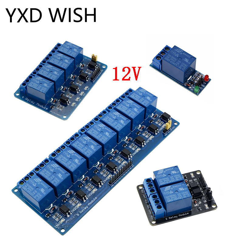 12V 1 2 4 6 8 Channel Relay Module With Optocoupler DC 12 V Relay Output 1 2 4 6 8 Way Relay Module For Arduino Voltage Relays