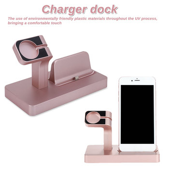 Phone Charger Dock 2 in 1 Charging Stand Mount Cradle Station Dock for Apple Watch and iPhone X 6 6s 5 7 Charger holder