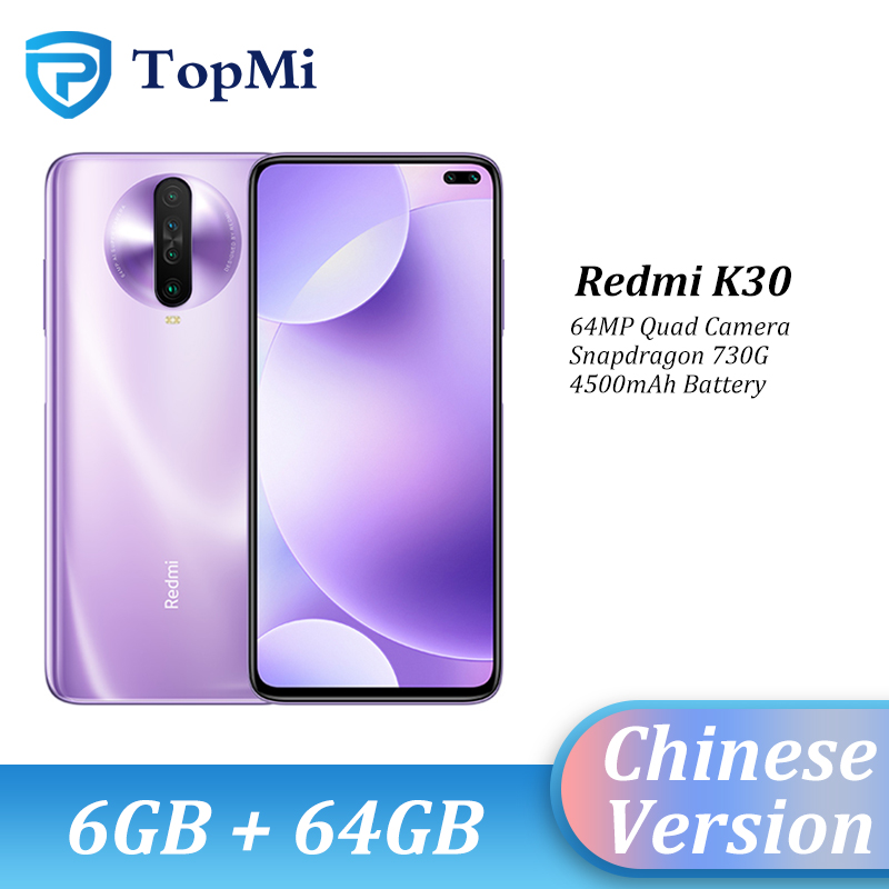 "Original Xiaomi Redmi K30 Smartphone 6GB RAM 64GB ROM Spnadragon 730G 6.67"" Punch Screen 64MP Camera 4500mAh Cellphone"
