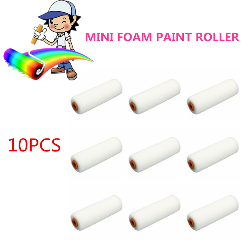 10pcs-100mm-mini-white-durable-foam-paint-roller-sleeves-painting-decorating-sponge-rollers-art-sets-painting-supplies