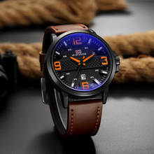 цена на Sports Watch Luxury Brand Men's Quartz Leather Strap Watch Fashion Waterproof Male Date Clock Unique Man Big Dial Wristwatches