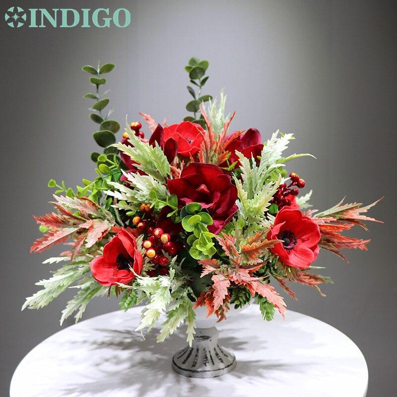 INDIGO Design-1 ensemble bricolage cadeau rouge anémone Cymbidium Arrangement de fleurs de noël bonsaï Bouquet Table pièce maîtresse livraison gratuite