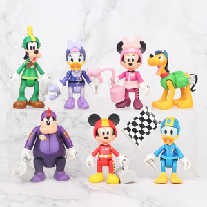 Image 1 - 7 pçs/set racing mickey, figuras de ação, brinquedos, brinquedo, menina, menino, presente de natal, 7 10cm
