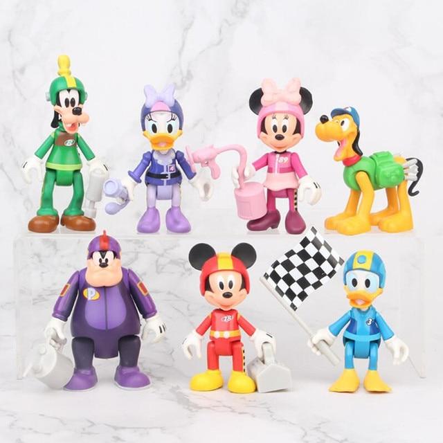 7 pçs/set racing mickey, figuras de ação, brinquedos, brinquedo, menina, menino, presente de natal, 7 10cm