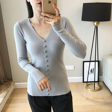 LHZSYY Autumn Winter New Women Knitted V-Neck Sweater Fashion Solid Color Large Size Fake Button Short Pullover Warm Wild Shirt