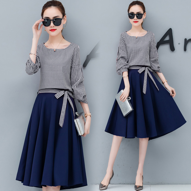 2019 Autumn Clothing New Style France Fu Gu Qun Yamamoto Popular Korean-style Dress Two-Piece Set Early Autumn Skirt Fashion