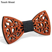 Hot Sales Tie Men Bow Bowtie Natural Environmentally Friendly Handmade Padauk Solid Red rosewood Wooden