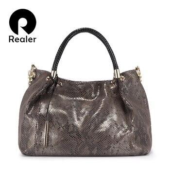 Realer Genuine Leather Bag Woman Handbags Female Hobos Shoulder Crossbody Bags Totes Women Messenger High Quality