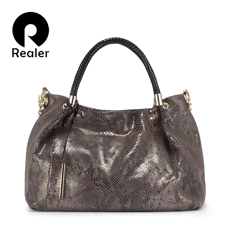 Realer Genuine Leather Bag Woman Handbags Female Hobos Shoulder Crossbody Bags High Quality Leather Totes Women Messenger Bag