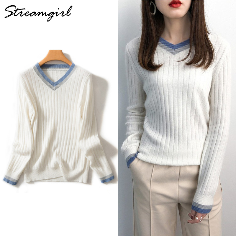 Soft Sweater For Women Knitted Wool Jumper Cashmere Sweaters Winter V-neck Pullover Knitwear White Sweater Women Wool Vintage