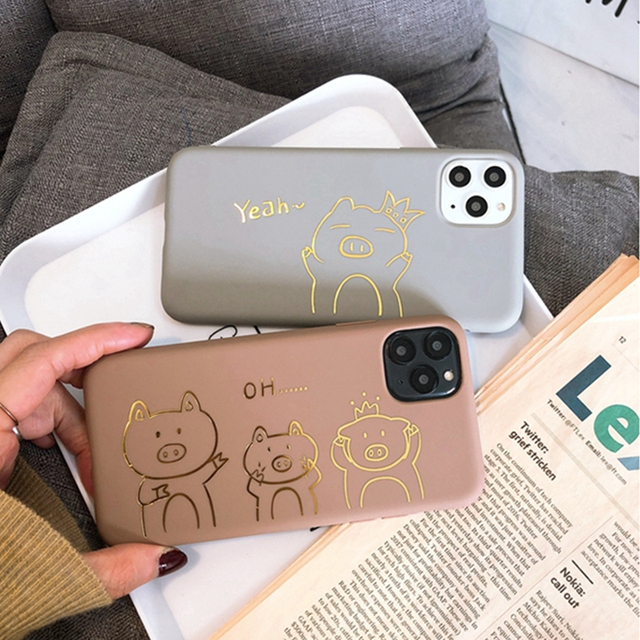 Cute Funny Gold Pig Silicone Phone Case For iPhone