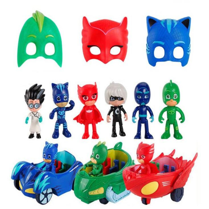 Pj Masks Series Anime Kids Toys Mask Cape Car Action Figure Model Children Birthday Party Gifts