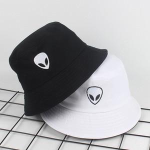 New Alien Foldable Bucket Hat Women Beach Sun Flat Hats Men Fisherman outdoor Hip Hop Cigarette Caps Boonie Gift