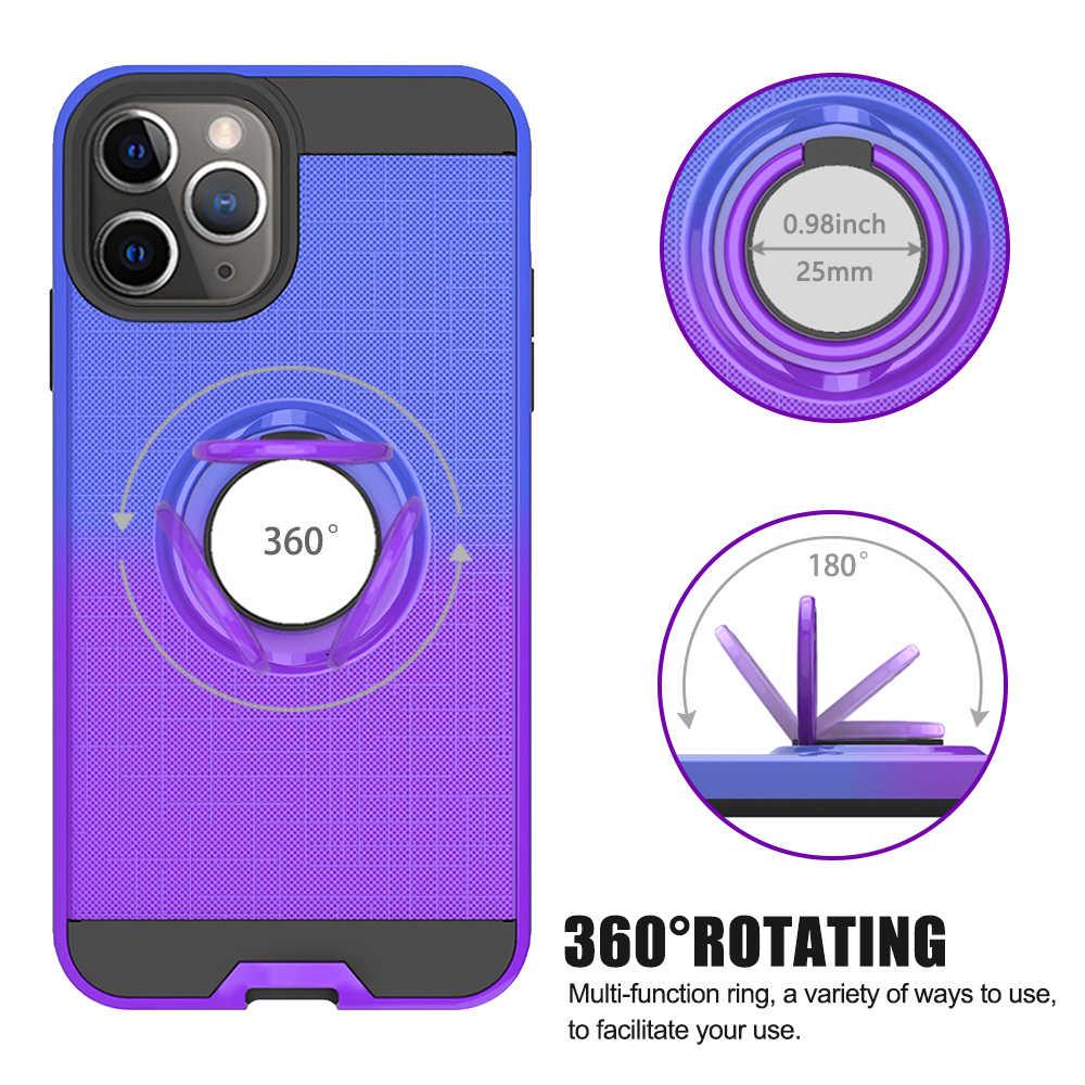 360 หมุนผู้ถือแหวนนิ้วมือสำหรับ iPhone 11 Pro X XR Xs Max Magnetic Car Mount Kickstand HYBRID ฝาครอบ Dual Layer