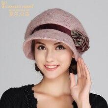 Autumn Winter  Women Hat New Ladies Wool Hats Elegant Casual Flower Small Top hat Thermal Bucket hats Trend Caps 4230