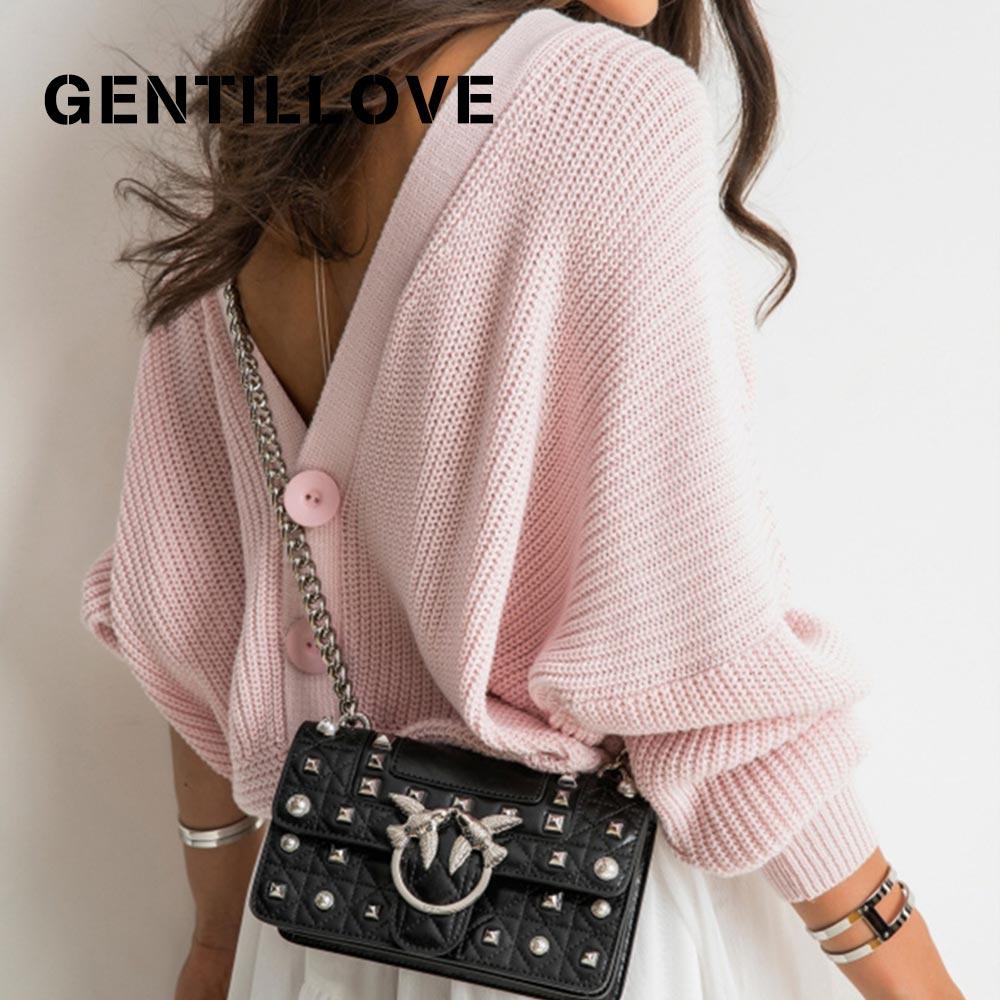 Gentillove Women Autumn Solid Knitted Sweater Jumper Long Sleeve V Neck Knitting Tops Open Back Button Sexy Fashion Sweaters