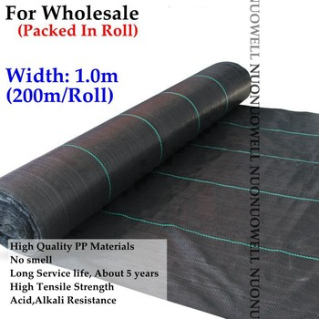 Width:1m 200m/Roll 90gsm UV Resistance Black Weed Control Mat Garden Landscape Fabric Farm Fruits Vegetable Planting Gound Cover