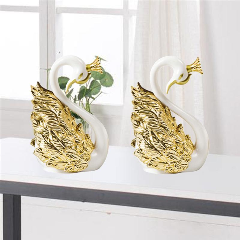 2 предмета Корона Лебедь Пластик Скульптура Творческий фигурка торта украшение рабочего стола украшение автомобиля орнамент (Золотой)