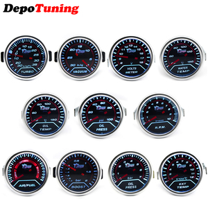 DepoTuning Boost/Water Temp/Oil Temp/Oil Press/Volts/Tachometer/Air Fuel Ratio/EGT Gauge 52mm Analog led White Case+ Gauge Pod