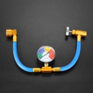 "Image 1 - Air Pressure Gauge R134A Refrigerant Recharge Hose 1/2"" Can Tap Car Air Conditioning Pressure Gauge Refrigerant charging 382mm"