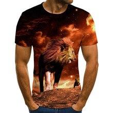 夏男性のtシャツ激しいライオン虎トップス3Dプリント半袖おかしい動物tシャツカジュアルラウンドネックシャツストリート