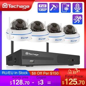 Image 1 - Techage 8CH 1080P sans fil NVR Kit CCTV système de sécurité enregistrement Audio 2.0MP dôme intérieur WiFi IP caméra P2P ensemble de Surveillance vidéo