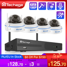 Techage 8ch 1080p nvr kit sem fio sistema de segurança cctv gravação áudio 2.0mp indoor dome wi fi ip câmera p2p vídeo vigilância conjunto