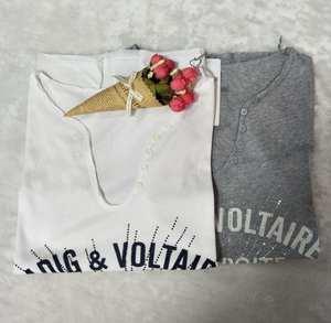 T-Shirt Summer U-Neck-Button Letter-Printed Girl Short-Sleeved Hot-Drill New