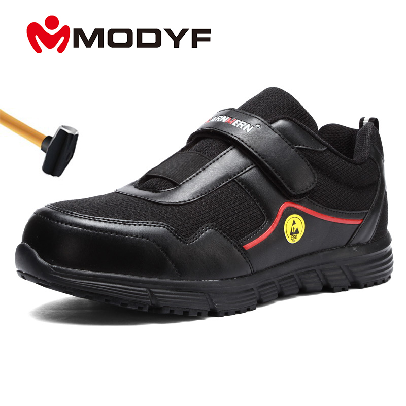 MODYF Mens Work Shoes ESD Safety Shoes Steel Toe Comfortable Anti-smashing Non-slip Reflective Construction Protective Foot