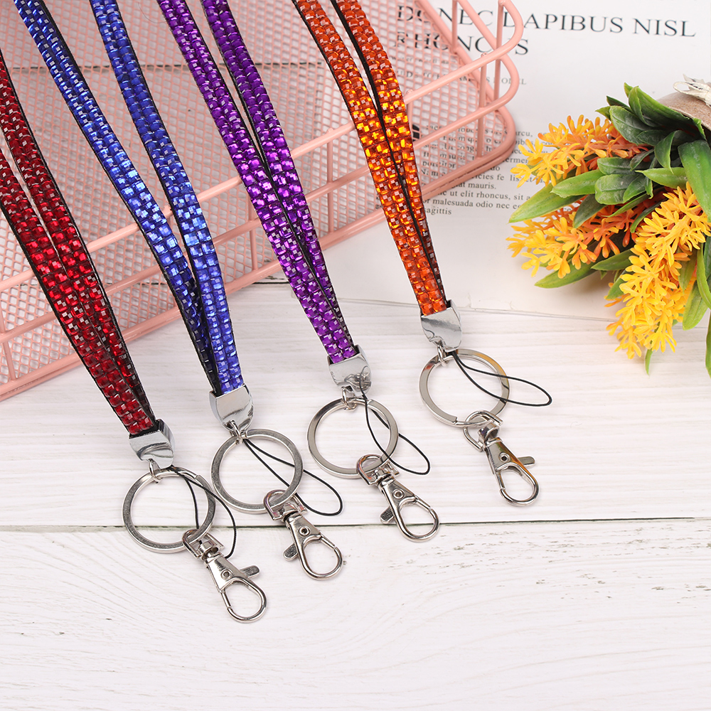 Hot 50 Pcs Lanyards Rhinestone CRYSTAL ID Card Badge Holder Keychain Neck Key