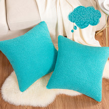 Teal capa de almofada de pelúcia para casa caso de travesseiro cama quarto fronhas almofadas decoração do assento de carro sofá lance almofadas 45x45 amarelo