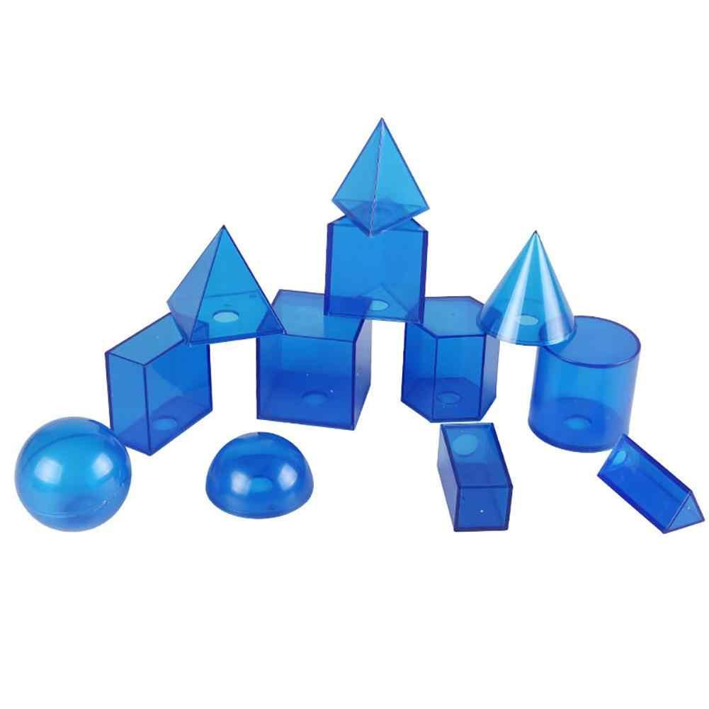 12 шт./компл. Пластик прозрачный 3D Геометрические тела модели съемная учебных пособий игрушка детская школьная прозрачный геометрический паззл блоки