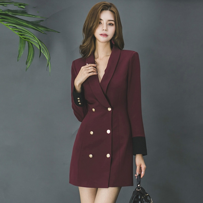 Drop Shipping Elegant Turn-down Collar Double-breasted Women Blazers Patchwork Cuff Slim Waist Female Mid-length Suit Jacket