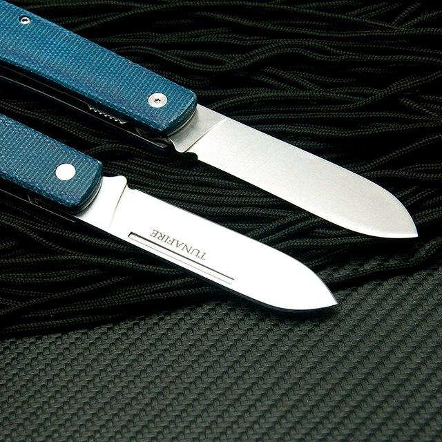TUNAFIRE  Folding Knife Olecranon Blade +linen Fiber Handmade FruitKnife Outdoor Camping Tool 3