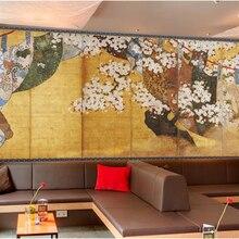 Papel de pared personalizado papel tapiz 3d estilo japonés ukiyo-e flor de cerezo pintado a mano seis pantalla mural papel pintado con motivo de pintura al óleo