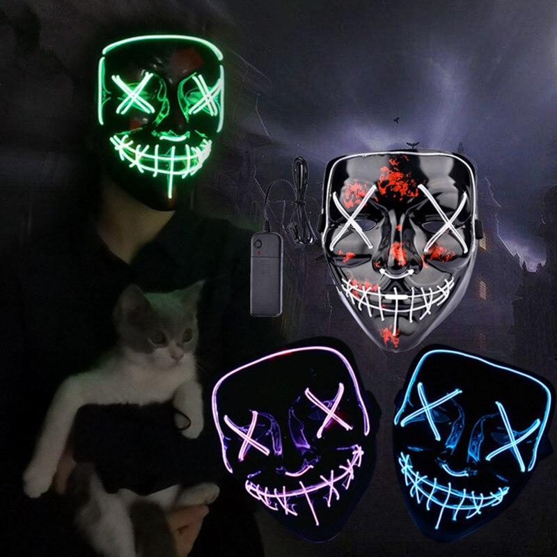 Masque Halloween LED Maske illuminer fête masques néon Maska Cosplay Mascara horreur Mascarillas lueur dans l'obscurité Masque V pour Vendetta