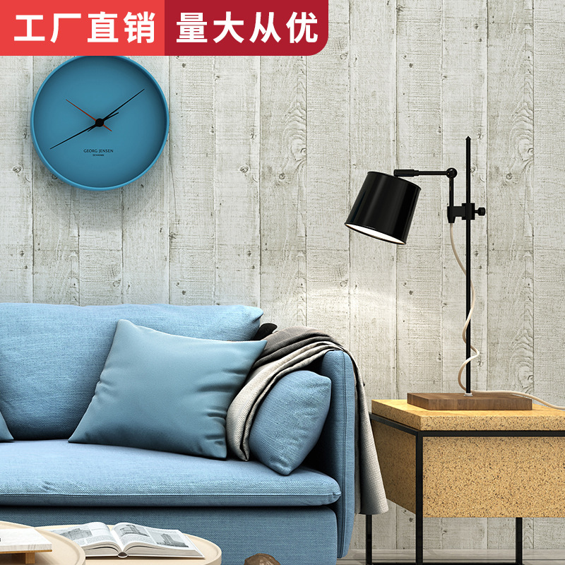 Restaurant Bar Clothing Store Living Room Wall Retro Wallpaper Cool Nostalgic Retro Model Board Wood Grain Wallpaper