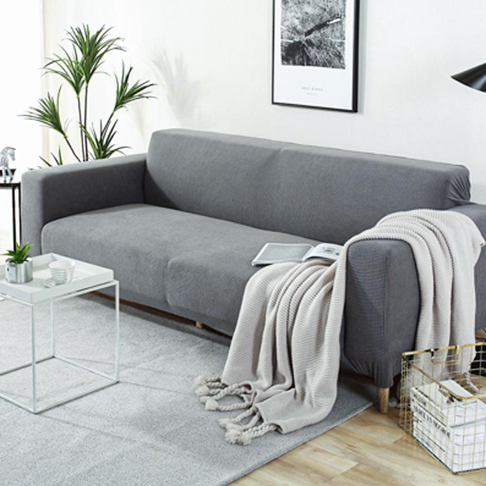Fleece Sofa Cover Waterproof Solid Color Sofa Covers for Living Room Armchairs Stretch Covers Non-Slip Soft Furniture Protector 5
