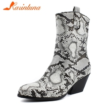 KARINLUNA New Plus Size 34-48 Brand High Top Booties Lady Winter Warm Fur Ankle Boots Snake Veins Women Med Heels Shoes Woman