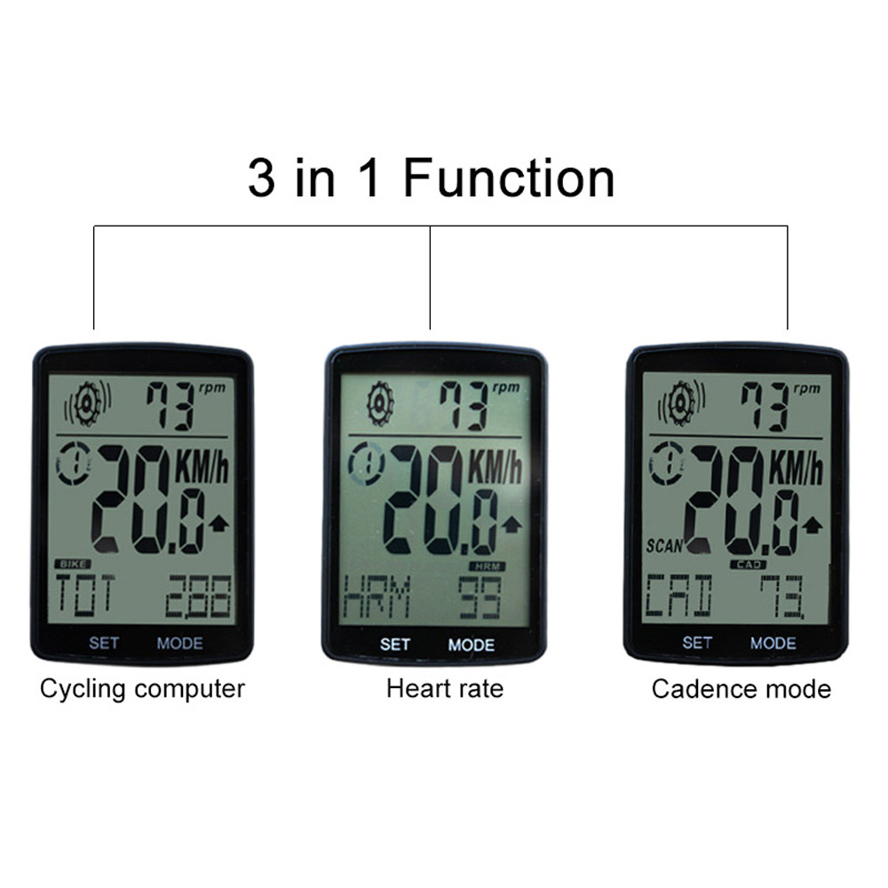 Suitable For Indoor Cycling Bike Speedometer Cadence Extended Bracket Heart Rate Three-in-one Stopwatch Bike Computer Big Screen Wireless Speed Long Night Light