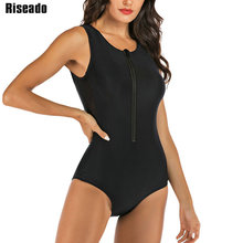 Riseadoラッシュガード水着女性スポーツワンピース水着2020ジッパー水着サーフィン水着黒ビーチウェアxxl