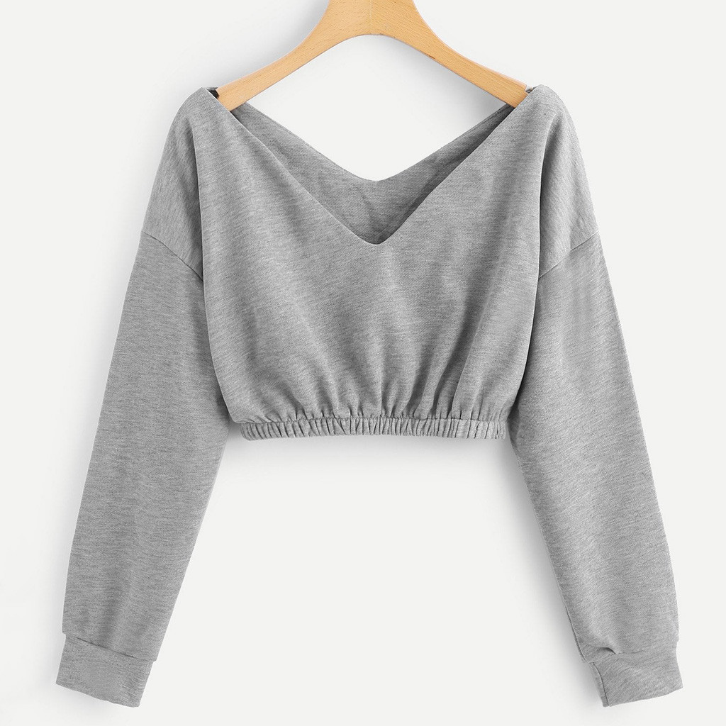 Women Long Sleeve Crop Tops Pullover Zip Up V Neck Blouse Ladies Hoodies Jumper