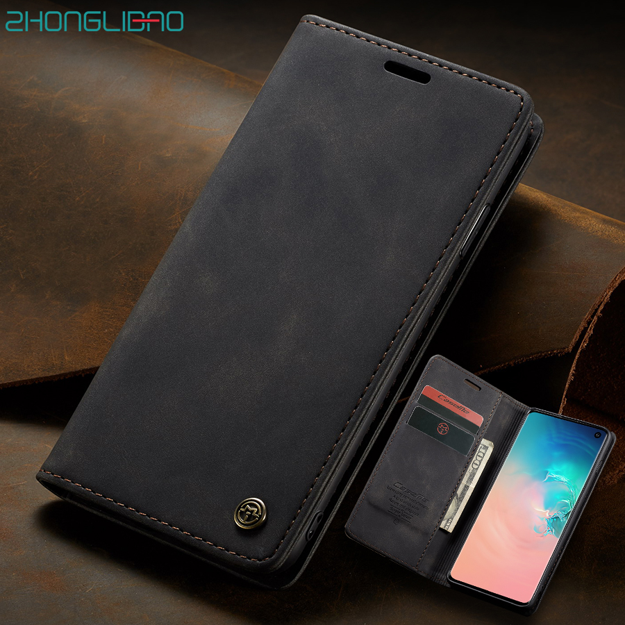Magnetic Leather <font><b>Case</b></font> for <font><b>Samsung</b></font> Note 10 + S8 S9 S10 Plus S10E 5G <font><b>S7</b></font> <font><b>edge</b></font> A70 A50 A80 A90 A20E A30 A40 A10 M10 M20 Wallet Cover image