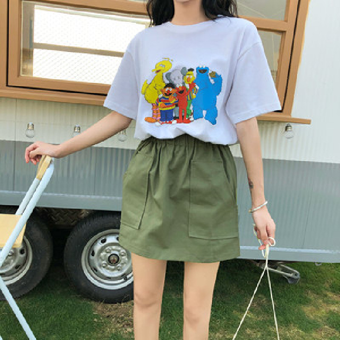 Photo Shoot INS Super Fire A- Line Skirt Women's 2019 Summer New Style High-waisted Korean-style Versatile Retro Sheath Half-len