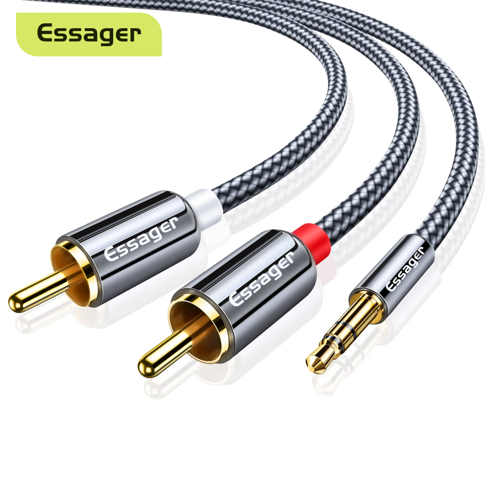 Essager RCA аудио к кабелю для подключения внешних устройств 3,5 до 2 RCA кабель 3,5 мм Джек 2RCA сплиттер папа-папа Aux кабель для ТВ ПК усилители DVD Динам...