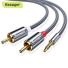 Essager RCA 오디오 케이블 잭 3.5-2 RCA 케이블 3.5mm 잭-2RCA 남성 분배기 Aux 케이블-TV PC 앰프 DVD 스피커 와이어