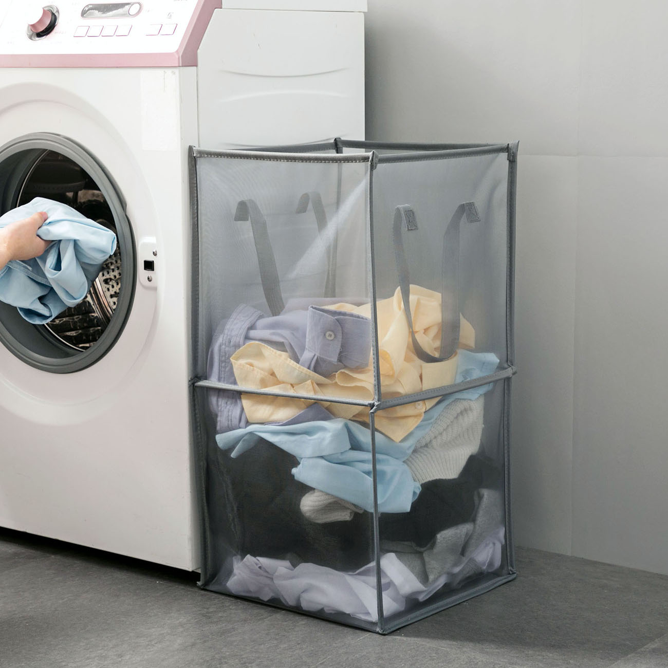 Foldable Clothes Storage Baskets Mesh Washing Dirty Clothes Laundry Basket Portable Sundries Organizer Toy Container