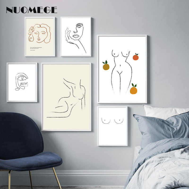 scandinavian style line abstract canvas painting Picasso wall art posters and prints for iving room decorative picture prints