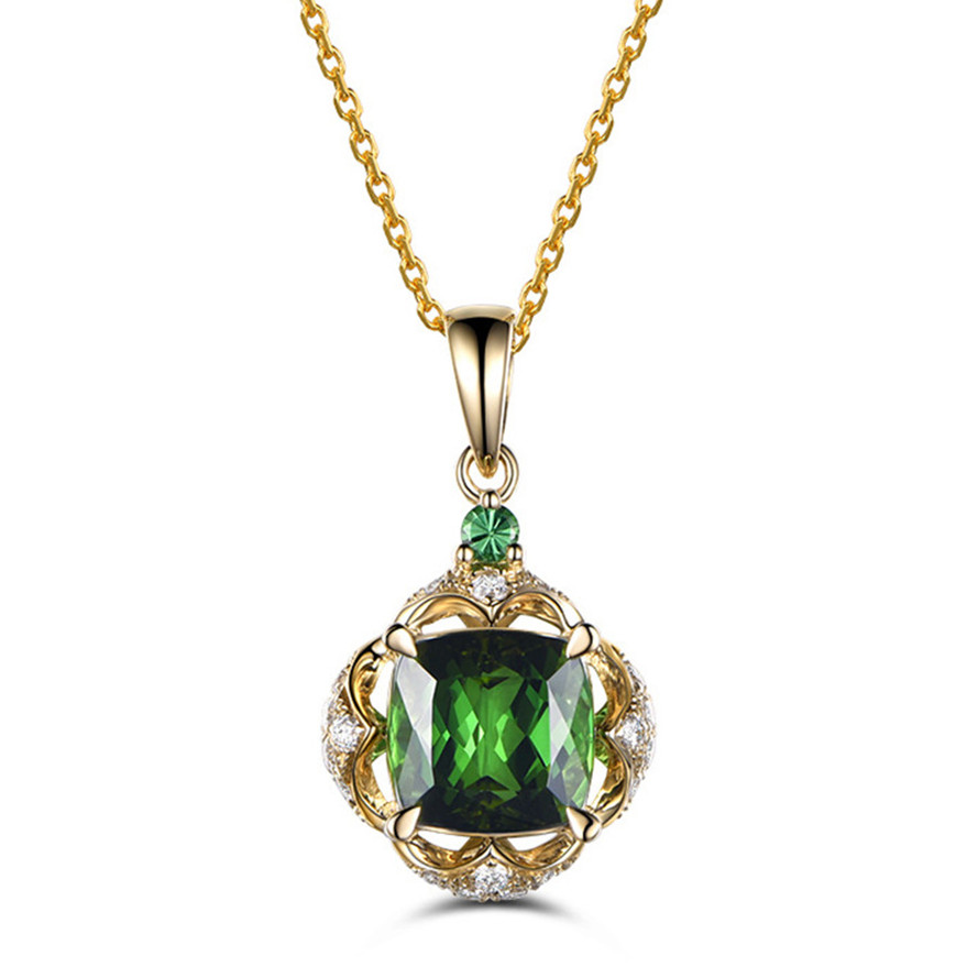 Small Emerald Pendant Necklace For Women Girl Green Crystal Gemstone Yellow Gold Choker Chain Zircon Diamond Party Birthday Gift